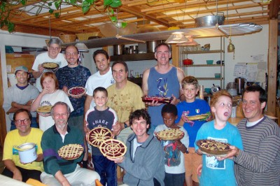 Guys baking pies at EcoVillage Ithaca