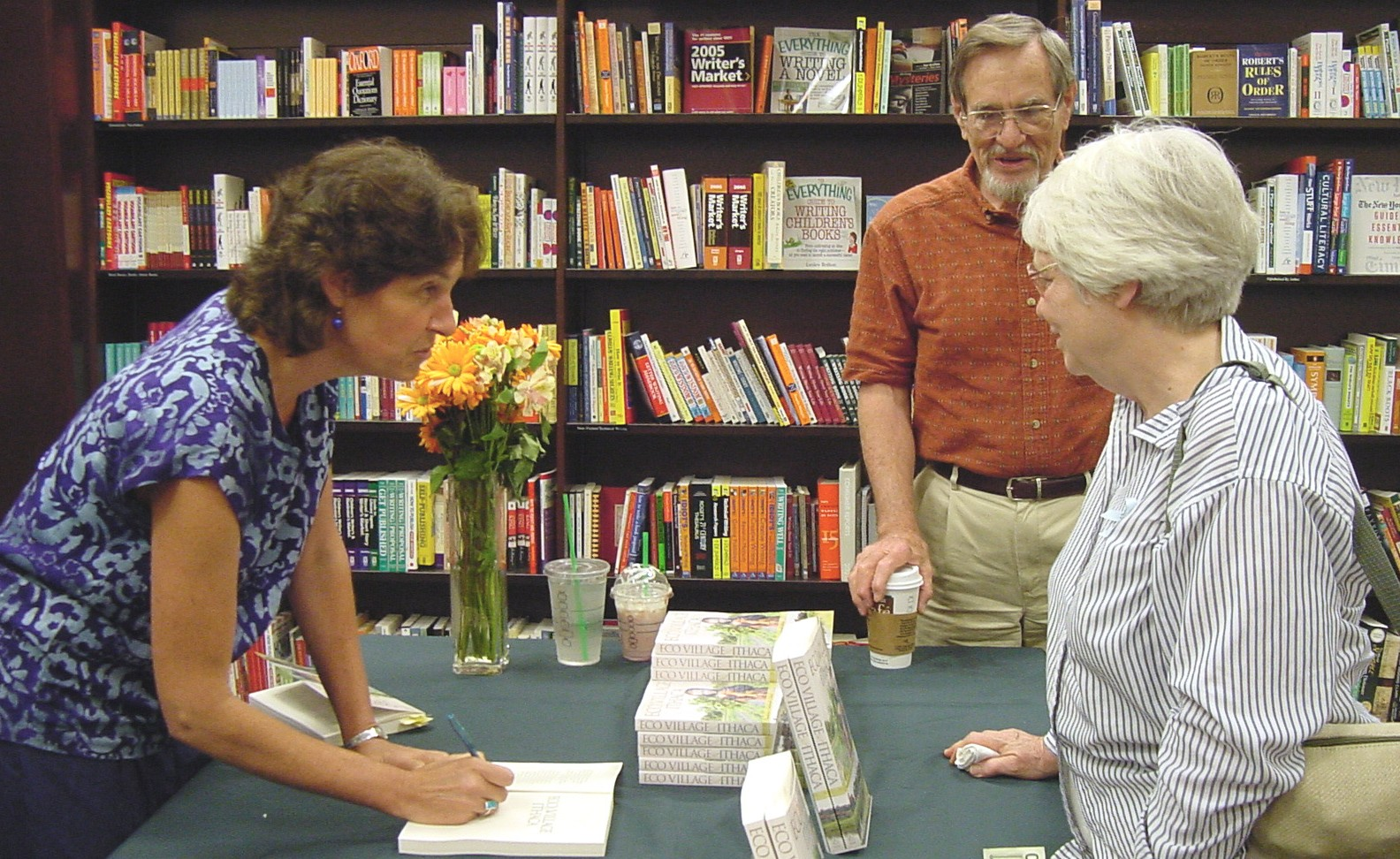 Liz Walker at Book Signing for new EcoVillage Ithaca book