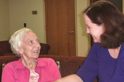 The author with her mom, Judy, in a nursing home.