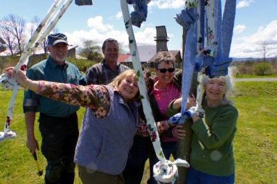Members of the Community Life Committee after installing pole